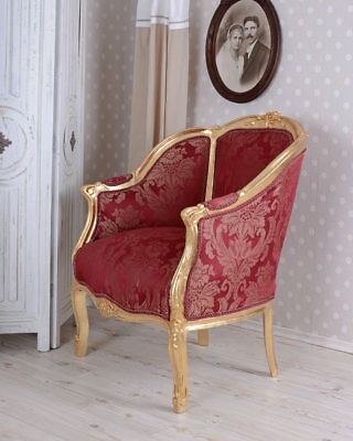 Rococo Style Armchair BERGERE EN CONFESSIONAL CHAIR RED Armchair