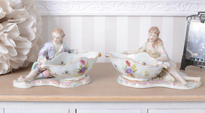 TWO Bowls Baroque Style Set of Two Porcelain Lady & Gentleman