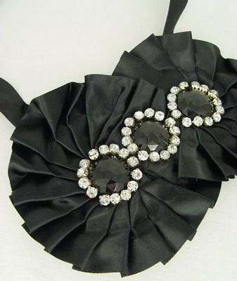 VINTAGE NECKLACE FABRIC COLLAR BLACK NECKLACE 1920s SHABBY CHIC