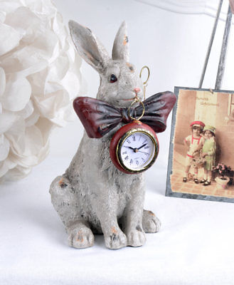 White Rabbit Table Clock Shabby Alice In Wonderland Figure With Watch