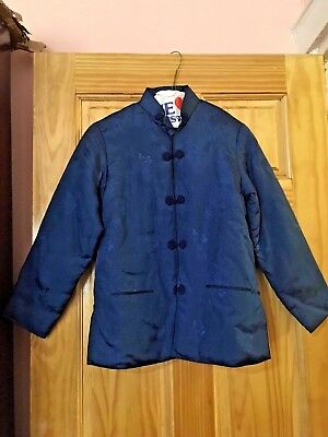 Ladies Quilted Chinese Mandarin Jacket Top Long Sleeve Floral Blue Size S EUC