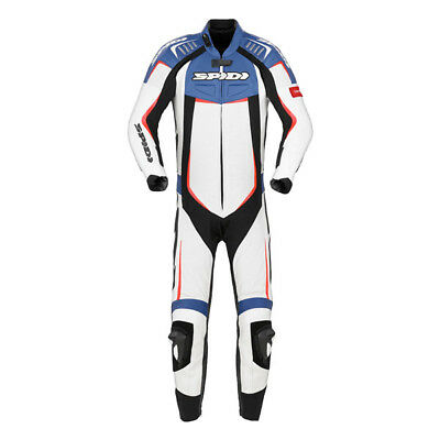 Spidi Track Wind Pro Motorcycle One Piece Leather Suit Black Blue