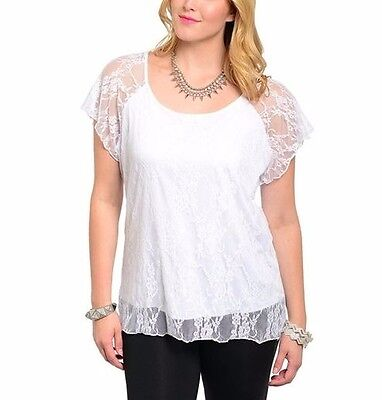 *NEW!* Plus Sz White Lace Tee/Top, Bridal Shower, Resort Fully Lined, 1X-2X-3X