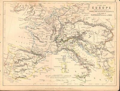 1855 Antique Map/Battle Plan-Part of Europe at height of Napoleon's power  1812