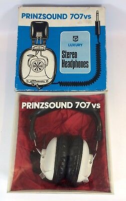 White Prinzsound 707vs Luxury Stereo Headphones Vintage Boxed Retro Side Volume