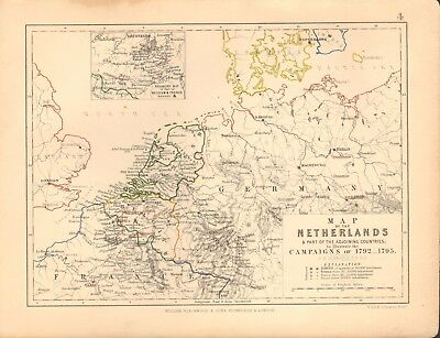 1855 Antique Map/Battle Plan-Netherlands to illustrate campaigns of 1792-1795