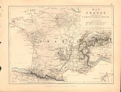 1855 Antique Map/Battle Plan- Map of France to illustrate campaigns of 1795 etc