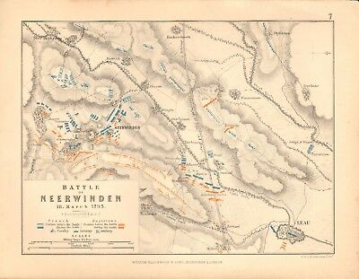 1855 Antique Map/Battle Plan- Battle of Neerwinden, 18 March 1793