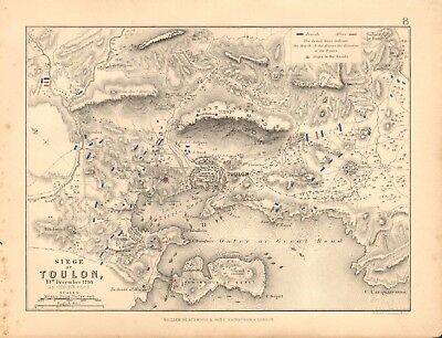 1855 Antique Map/Battle Plan- Siege of Toulon, 19th December 1793