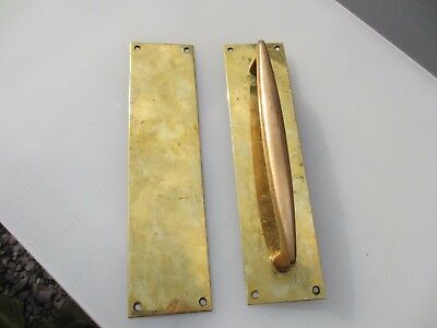 Antique Brass Door Handle Set Shop Pull Finger Plate Vintage Edwardian Deco 12""
