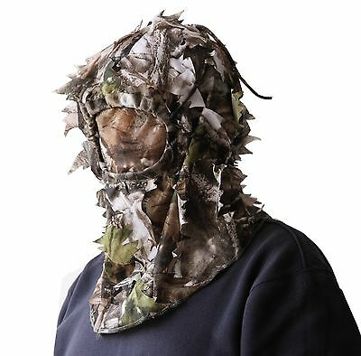 Hunting Full Face Mask Camouflage Head Cover 3D Sneaky Leaf Hat Cap MO Face