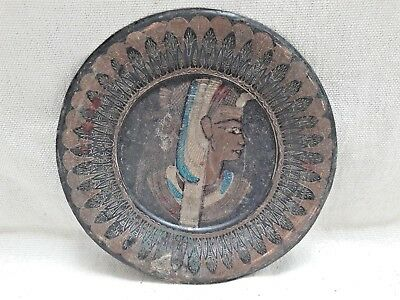 Vintage Original Old Handcrafted Wall Decor Copper Plate Egypt Style Rare Collec