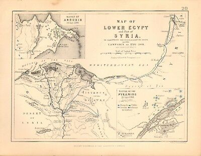 1855 Antique Map/Battle Plan- Map of Lower Egypt & Syria, 1798 & 1801