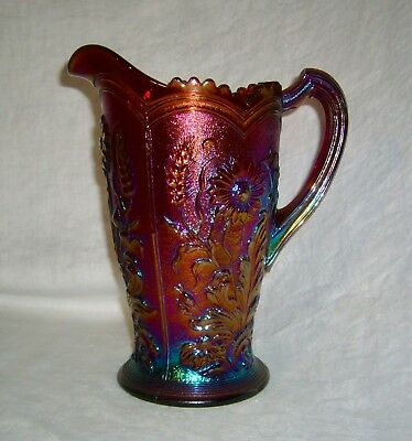 Antique Purple Carnival Glass Imperial Fieldflower Field Flower Water Pitcher