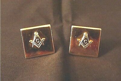 "Masonic Men's Cuff Links. Gold Color. 30+ Years. 5/8"" X 5/8"". 6.6 Gr. Total Wgt."