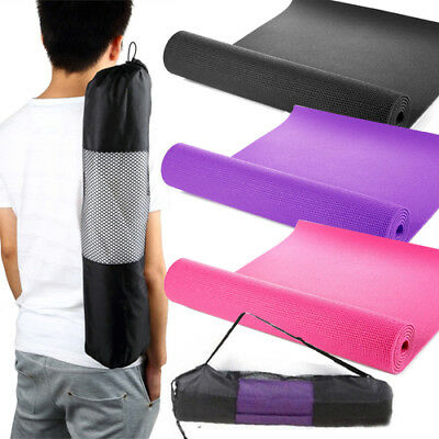 Yoga Mat Thick 182Cm X 61Cm Non Slip Exercise Gym Camping Picnic In Carry Bag