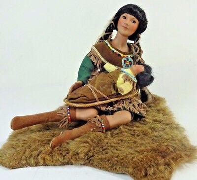 """Timeless Collection Native American Indian Mother & Baby No Box 15"""" 1998"""