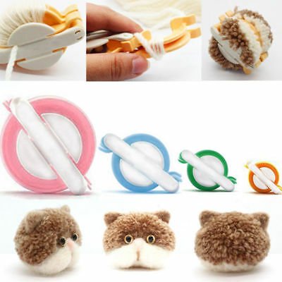 4 Size Pom pom Maker kit Fluff Ball Weaver Needle Knitting Craft bobble DIY Tool