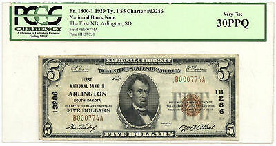 1929 Type 1 $5 National Banknote First NB in Arlington PCGS VF-30PPQ Ch #13286