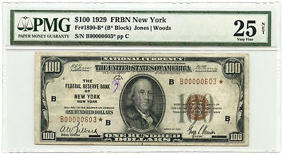1929 $100 Federal Reserve Bank Star Note FRB of New York PMG VF 25 NET