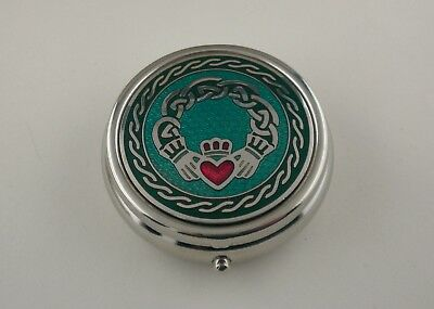 Enameled Claddagh Celtic Knot Pill Box large 3 Compartment