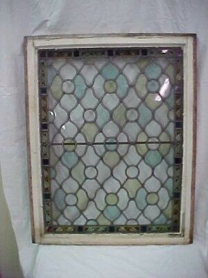 Antique Victorian 1870's Era Leaded & Stained Glass Window with Rondels Gothic