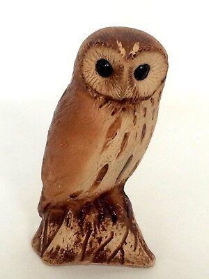Purbeck Stoneware Pottery Owl Figure / Animal Figurine Signed