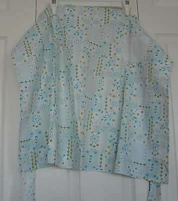 Beautiful Aqua Print Homemade Apron