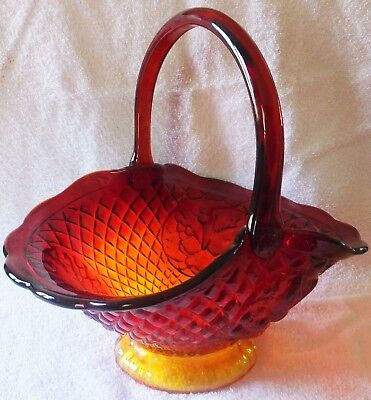 LARGE Indiana Glass Amberina Canterbury Sunset Glass Basket
