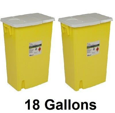 2 x Covidien Chemotherapy Sharps Container 8989 SharpSafety 18 Gallon YLW Base