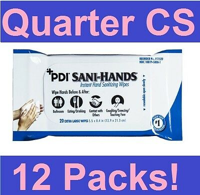 PDI Sani-Hands 20/Pack Instant Hand Sanitizing Wipes (P71520) -12 Packs/QTR CASE