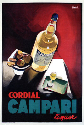 CORDIAL CAMPARI vintage Poster print on Paper or Canvas Giclee13X18 to 58X40