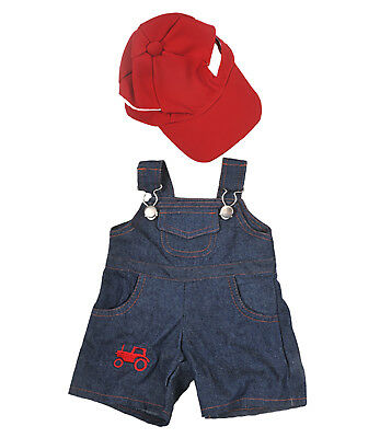 """Farmer"" Outfit with Cap Teddy Bear Clothes Fits Most 14"" - 18"" Build-A-Bear"