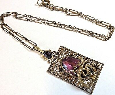 Antique CZECH Brass Necklace W/ Dragon Purple Glass Stones Art Nouveau