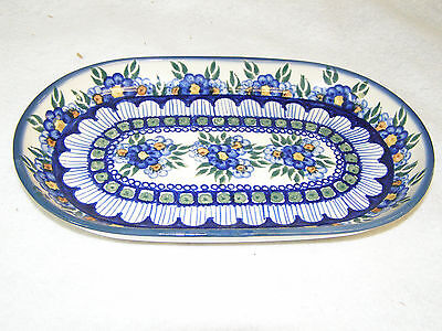 """WR Unikat Polish Pottery 11"""" Oval Platter / Bowl Hand Painted Floral Patterns"""