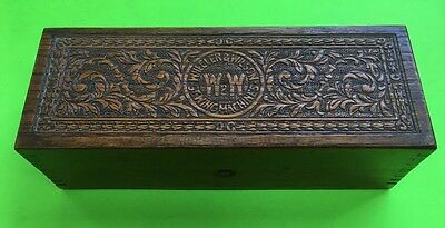 Embossed WHEELER&WILSON Oak Sewing Machine Parts Storage Box/Original Hardware.