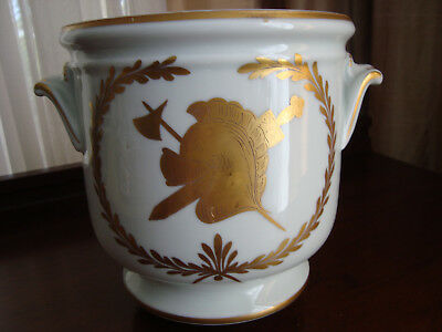 France Made Handpainted Porcelain Cachepot/jardiniere/planter - Armorial Image