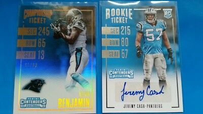 2 Carolina Panthers special NFL card lot - autographed/numbered