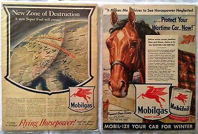 TWO Mobilgas/Mobiloil WWII Era Magazine Ads