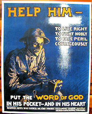 Original WWI War Poster, Help Him To Live Right Put The Word Of God,Woodrow,1918