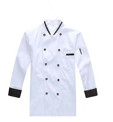 Chef Unisex Jacket Coat Chef Uniform Kitchen Long Sleeve Cooker Work Restaurant
