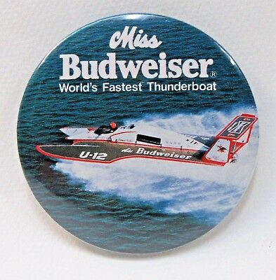 1975 MISS BUDWEISER WORLD'S FASTEST THUNDERBOAT pinback button hydroplane BEER