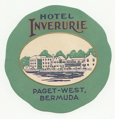 Hotel Inverurie Paget-West BERMUDA Vintage Luggage Label