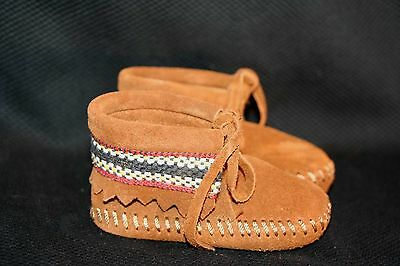 NEW INFANT BABY Sz 1 NOS Vtg 60s 70s SUEDE MINNETONKA PA POO SHU MOCCASIN Shoes