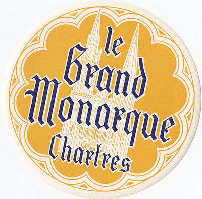 Hotel le Grand Monarque CHARTRES France Vintage Luggage Label
