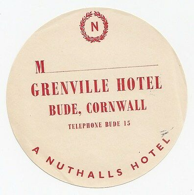 Grenville Hotel A Nuthalls Hotel BUDE Cornwall England UK Vintage Luggage Label