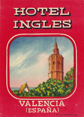 Hotel Ingles VALENCIA España Vintage Luggage Label Spain