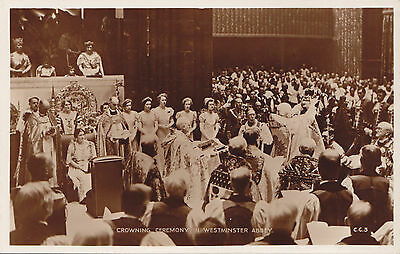 KING GEORGE V Coronation Ceremony Westminster Abbey 1936 Valentine RPPC C.C.3