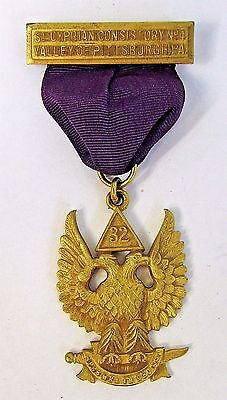1920s Masonic 32nd Degree St. CYPRIAN CONSISTORY VALLEY PITTSBURGH medal badge +