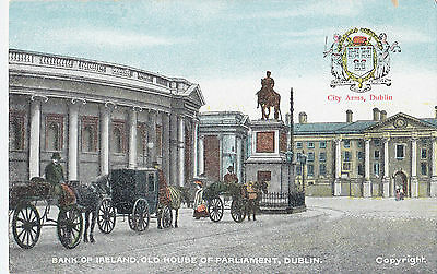 Bank of Ireland old Parliament DUBLIN Ireland Chas L Reis & Co Heraldic Postcard